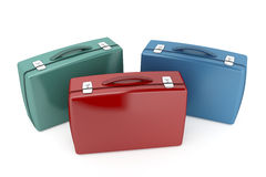 Briefcases. Three briefcases with different colors Royalty Free Stock Photos