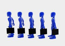 Briefcases, side. 3d figures with briefcases standing in a row, blue over white background Royalty Free Stock Image