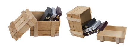 Briefcases in Wooden Crate Royalty Free Stock Photos
