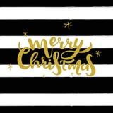 Briefgestaltung der frohen Weihnachten Gold Vektorillustration mit Hand gezeichneten schwarzen Streifen Lizenzfreie Stockfotografie