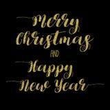 Briefgestaltung der frohen Weihnachten und des guten Rutsch ins Neue Jahr Stockbilder