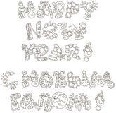 Briefgestaltung von guten Rutsch ins Neue Jahr-Grüßen mit Spielwaren lizenzfreies stockbild