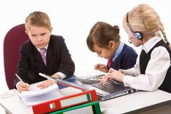 Briefing. Photo of busy girls working at meeting with serious boss near by royalty free stock image