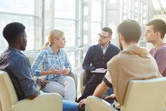 Briefing of co-workers. Start-up meeting of financial managers stock images