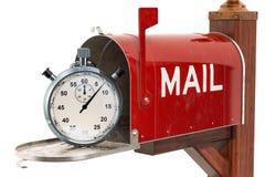 Briefkasten mit Stoppuhr schnelles Lieferungskonzept, Wiedergabe 3D lizenzfreie abbildung