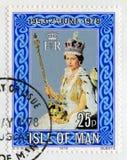 Briefmarke, die den 25. Jahrestag der Krönung feiert Lizenzfreie Stockfotografie