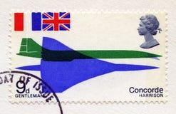 Briefmarke, die erste Concorde Flight feiert Lizenzfreie Stockbilder