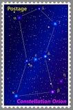 Briefmarke Konstellation Orion mit einer einfachen Perforierung des Rahmens Auch im corel abgehobenen Betrag lizenzfreie abbildung