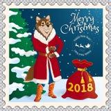 Briefmarke mit einem Hund lizenzfreie abbildung