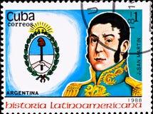 Briefmarke zeigt Argentinien-Leiter J. San Martin Stockbilder
