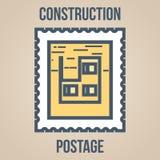 Briefmarkeikonen von Schattenbildern von Bauwerkzeugen Unfertiges Gebäude Lizenzfreie Stockbilder