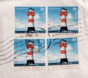 Briefmarkeleuchtturm aus Deutschland Stockfotos