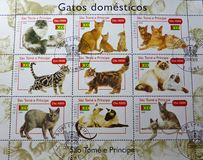 Briefmarken - Gatos-domesticos Stockfotografie