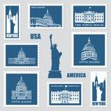 Briefmarken mit amerikanischen Symbolen Stockfoto