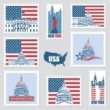 Briefmarken mit amerikanischen Symbolen Stockfotografie