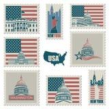 Briefmarken mit amerikanischen Symbolen Lizenzfreie Stockfotografie