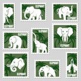 Briefmarken mit Elefanten Stockfotografie