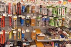 Briefpapier für das Schuljahr im Supermarkt Stockfoto
