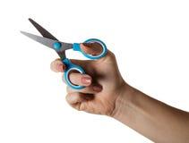 Briefpapier scissors in der Hand stockfotografie