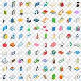 100 Briefpapierikonen eingestellt, isometrische Art 3d Lizenzfreies Stockbild