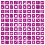 100 Briefpapierikonen stellten Schmutzrosa ein vektor abbildung