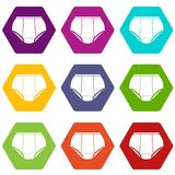 Briefs underpants icons set 9 vector. Briefs underpants icons 9 set coloful isolated on white for web Royalty Free Stock Photography