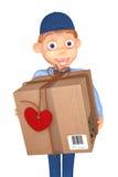 Briefträger mit einem Postpaket Stockfotos