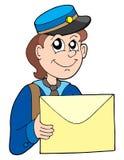 Briefträger mit Zeichen Lizenzfreies Stockfoto