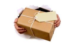 Briefträger oder Kurier, die Paket durch heftigen Weißbuchhintergrund liefern oder halten stockfoto