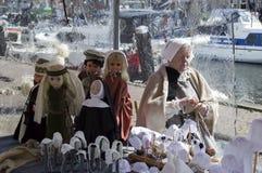 做木偶帽子的妇女 免版税图库摄影