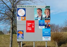 Dutch elections billboard, march 2019. Brielle, the Netherlands. February 2019. Billboard with candidates and political parties for the provincial council and stock photography