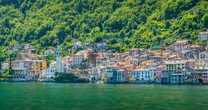 Brienno as seen from the ferry, Lake Como, Lombardy, Italy. Stock Photos