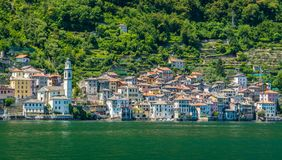 Brienno as seen from the ferry, Lake Como, Lombardy, Italy. Royalty Free Stock Photo