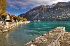Brienz promanade in beatuful autumn sunset, Bernese Highlands, Switzerland, HDR Royalty Free Stock Photo