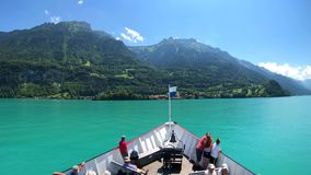 POV travelling by boat at Brienz lake at summer time in Switzerland. stock video