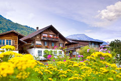 Brienz village in Switzerland Royalty Free Stock Photos