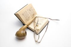 Brier, book and glasses Royalty Free Stock Photo