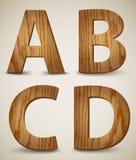Brieven A, B, C, D. Vector van het Grunge de Houten Alfabet Stock Foto
