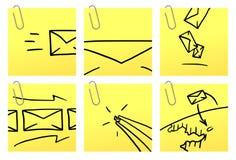 Brieven | De gele reeks van de Sticker Stock Foto