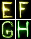 Brieven die met licht worden geschilderd stock foto