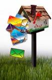 Brieven die van brievenbus uitvallen Stock Afbeelding