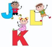 Brieven J K en L stock illustratie