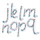 Brieven J, K, L, M, N, O, P, Q Vector 3D Realistische Brief van het de Kleurennieuwjaar van Suikergoedcane alphabet symbol in chr Stock Afbeeldingen