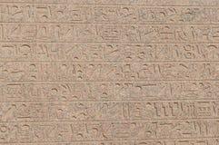 Brieven, tekeningen en tekens op de muren van oude Egyptische tempel Royalty-vrije Stock Afbeelding