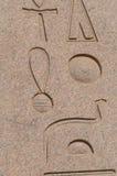 Brieven, tekeningen en tekens op de muren van oude Egyptische tempel Royalty-vrije Stock Afbeeldingen