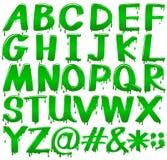 Brieven van het alfabet in een smeltend groen malplaatje vector illustratie