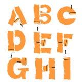 brieven van het alfabet met verfrol die wordt geschilderd Royalty-vrije Stock Foto's