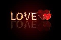 Brieven van liefde Twee harten in brand De Dag van Valentine s vector illustratie