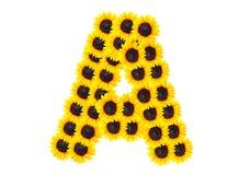 Brievena alfabet met zonnebloem Stock Fotografie