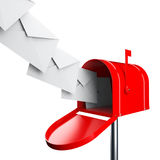 Brievenbus met brieven Stock Afbeelding